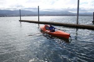 Chris in Port Angeles Harbor for test row.